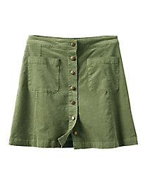 Cascade Button-Front Corduroy Skirt