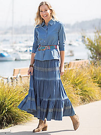 Denim Tiered Maxi Skirt