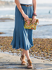 Crinkle Cotton Midi Skirt...