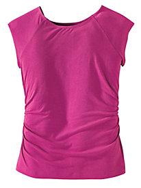 Women's Waist-Not Ruched Cap-Sleeved Top