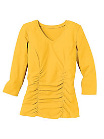Waist Not Ruched Front 3/4 Sleeve Top