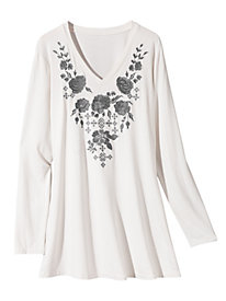 Women's Embroidered Knit Tunic
