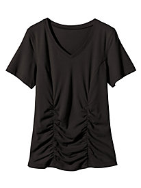 Ruched V-Neck Short Sleeve Top