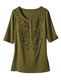 Women's Embroidered DiVine Henley Top