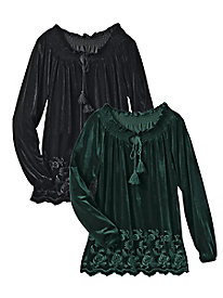 Stretch Velvet Embroidered Tassel Top