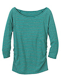 Waist-Not Ruched 3/4 Sleeve Striped Top