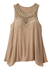 Lace Neck Knit Tank