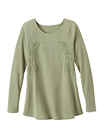 Soutache Thermal Knit Long Sleeve Top