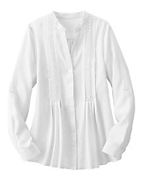 Embroidered Shirt with Pleats
