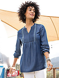 Indigo Peasant Top with Lace