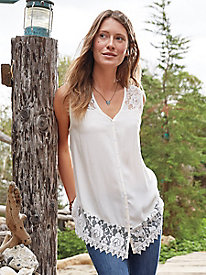 Lace Trim Sleevless Tunic