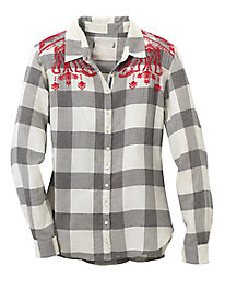 Tru Luxe Embroidered Plaid Blouse