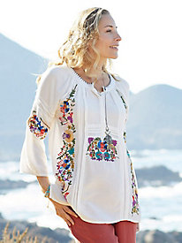 Tru Luxe White Cotton Embroidered Blouse