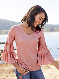 Solid Ruffle-Sleeve Top...