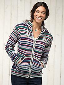 Women's Happy Stripe Hoodie Sweater