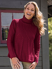 Women's A-Line Cable Turtleneck Sweater