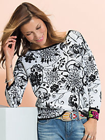 Women's Floral Jacquard Pullover Sweater