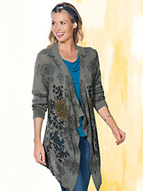 Women's Mixed Print Long Cardigan