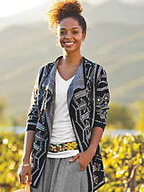 Women's Jacquard Waterfall Cardigan