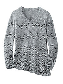 Asymmetric Pullover Tape Yarn Sweater