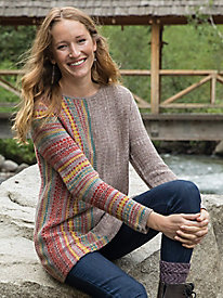 Stripe Fair Isle Tunic Sweater