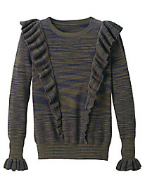 Marled Ruffle Front Sweater