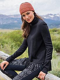 Turtleneck Tunic Sweater with Fringed Hem