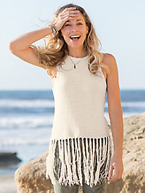 Sleeveless Fringe Sweater...