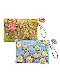 Embroidered Large Wristlet