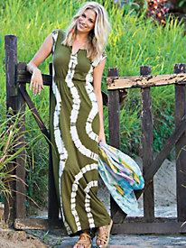 Women's Tie-Dyed Knit Maxi Dress