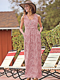 Tasteful Print Knit Maxi Dress