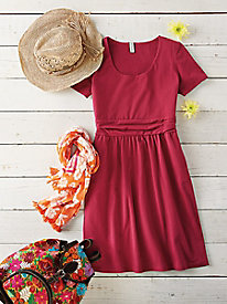 Above-the-Knee Ruched-Waist Dress Outfit