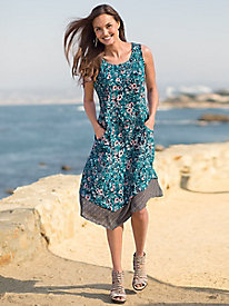 Layered Hem Print Tank Dress
