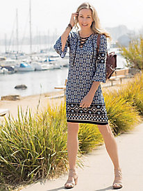 Tie-Front Border Print Dress