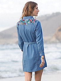 Light Denim Shirt Dress With Embroidery