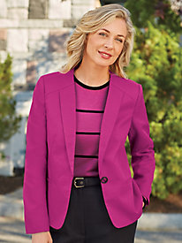 Single-Button Textured Blazer