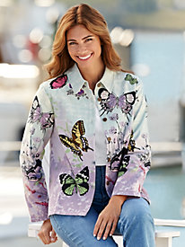 Butterfly Print Cotton Canvas Jacket
