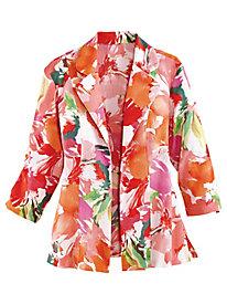 Floral Print Linen-Look Jacket