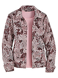 Denim Blue Floral Tapestry Jacket
