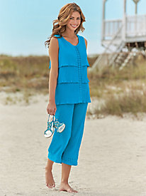 Crinkle Crochet Trim Capri Set