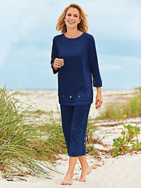 Button-Trim Capris Set