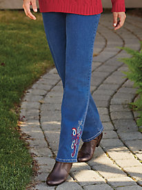 Embroidered Leg Jeans