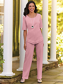 V-Hemline Pants Set by Bedford Fair