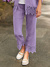 French Terry Pants With Lace Trim