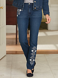 Metallic Embroidered Jeans