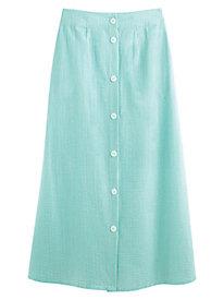 Button Front Seersucker Skirt