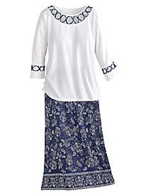Bandana Trim Skirt Set