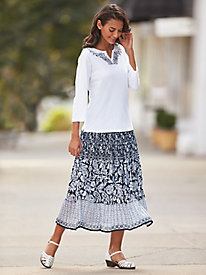 Print Skirt Set With Embellished Top by Bedford Fair