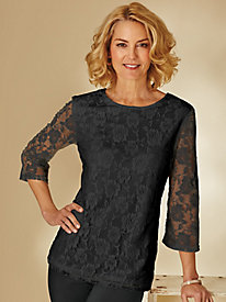 Three-Quarter Length Sleeve Lacy Tee