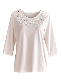 Textured Embellished Tee